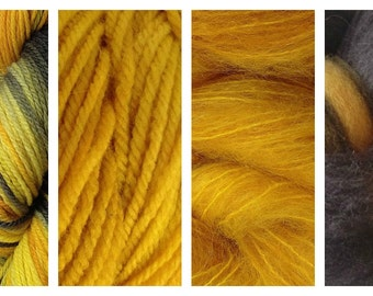 Hand Dyed Samples of Merino Wool DK Sport Weight Yarn in Taxi Cab Variegated Yarn Yellow Gray Black