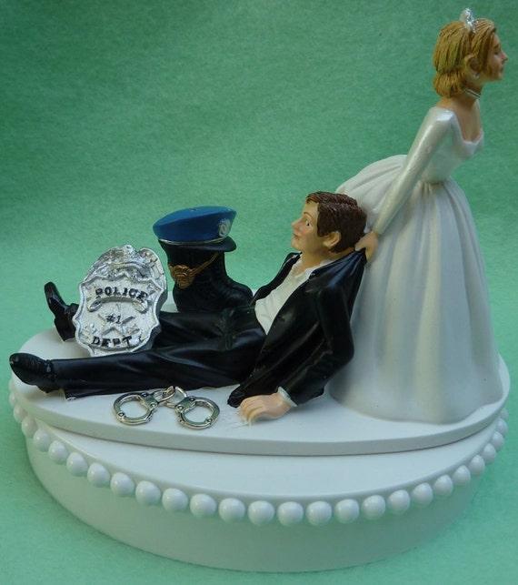 Wedding Cake Topper Policeman Boot Cap Hat Badge Handcuffs
