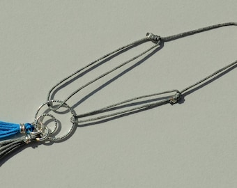 Customizable silver gray cord bracelet knots & double ring shiny Sterling Silver 925 + 2 tassels to choose