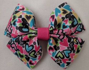 Multicolor Hearts hairbow