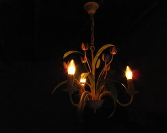 Sixties Toleware Chandelier, French, Vintage.