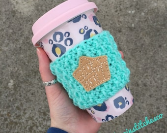 Sandcastle travel mug cozy, coffee sleeve, coffee cozy, mug sweater, beach accessories