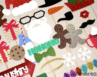 Holiday Photo Booth Props - SUPER DELUXE 26 piece set - GLITTER Photo Booth Props - Santa and Friends - 100 dollar value!