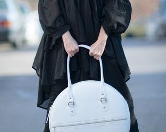 Women Bag, White Tote Circle Large Bag, White Genuine Leather Tote Bag, HandMade bag by EUGfashion - BA0840LD
