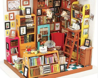 Doll House FREE Shipping!!! Furniture Diy Miniature Sam's Bookstore Wooden Miniaturas Dollhouse Toys for Children Birthday Gifts