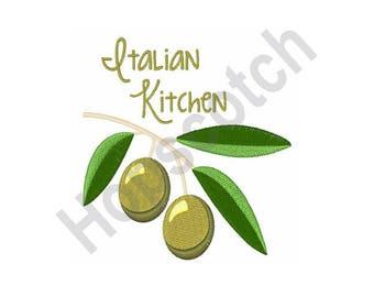 Italian Kitchen - Machine Embroidery Design, Olives, Italian, Kitchen