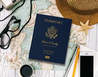 Destination Wedding Guest Book, Passport Wedding Guestbook, Navy Blue Wedding Guest Book, Gold Foil, United States Passport, GB092