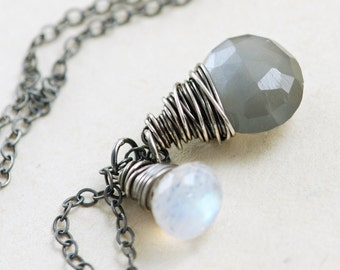 Gray Moonstone Necklace Wrapped in Sterling Silver Oxidized, Gray White Gemstone Necklace, aubepine