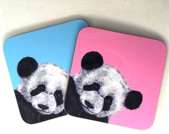 Hand Painted Panda Coaster - Animal Gift - Blue or Pink - Drinks Mat
