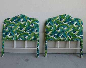 Pair of Twin Banana Leaf Upolsterered Headboards | Palm Beach Chic Twin headboards