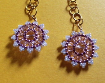 Pink beaded vintage inspired drop earrings with gold chain