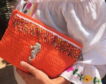 Bellissime pochette in cotone   , borsa a mano, busta trucchi ,beauty case , borsa mare, pochette estate,bianco turchese arancione