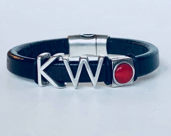 Keller Williams KW Black One Thing Leather Bracelet with Red Dot