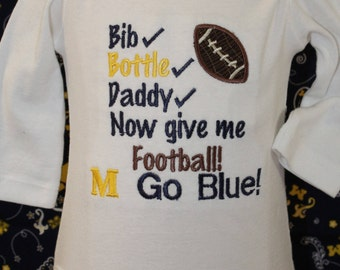 Michigan Wolverine, Wolverine Football bodysuit,University of Michigan,Baby shower gift,New baby gift,Football shirt,Wolverine baby shirt