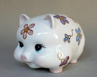 Pink, Blue and Purple Flower Piggy Bank