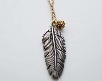 Bali Oxidized Sterling Silver Feather Long 24K Gold Filled Necklace Pretty Round 24 k Gold Bead Dangle Charm, Vermeil Pendant