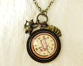 Bronze Pendant Necklace,   Alice in Wonderland, Mad Hatter in Clock, Glass Pendant With Charms Mens Womens Gift  Handmade