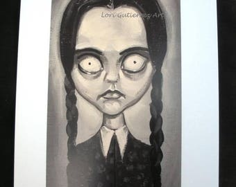 "Addams Family ""Wednesday"" Greeting Card!!  Lori Gutierrez Art OOAK!"