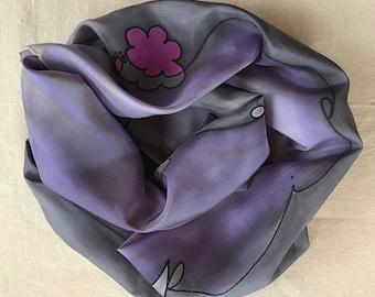 "Silk Scarf for Valentine's Day: ""Love/Beso"""