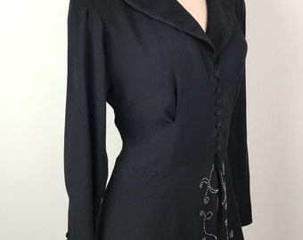 Vintage 1940s Black Crepe Dress With Seed Bead Detail Size M