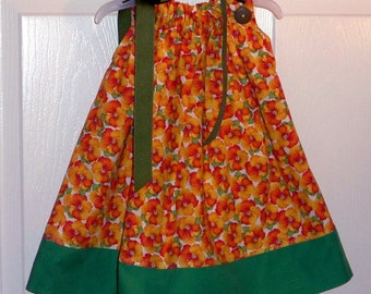 Handmade Marigold Pansy Floral Pillowcase Dress  12-18 mth - clearance 9.00