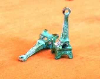 earring charm, EIFFEL TOWER,  verdigris patina  2 pcs