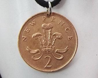 England Coin Necklace, 2 Pence, Coin Pendant, Leather Cord, Men's Necklace, Women's Necklace, 1980