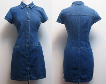 90s Denim Button Down Dress / Size M