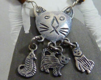 STERLING KITTY CAT Minimalist vintage antique assemblage necklace
