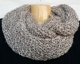 Gray White Chunky Thick Boho Hippie Cowl Eternity Infinity Soft Scarf Gift For Her  (0116GM)