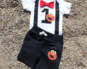 ELMO Baby Boy Bow Tie Bodysuit with Suspenders and shorts set  - Birthday, Photo Prop, Elmo, Sesame Street, 1st Birthday, Boys Birthday