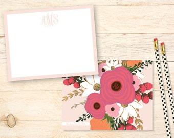 Personalized notecards, ELEGANT Floral Monogram Notecards, Personalized Thank You Notes,  Monogram Stationary, Three Initial Monogram