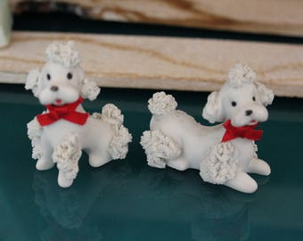 """Pair of China French Poodles """"Noodle Dogs"""""""