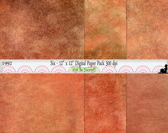 12 x 12 inch Gold Orange Brown Digital Painted Scrapbook Background Papers Instant Download Set of 6 JPEG Commercial Use 1992