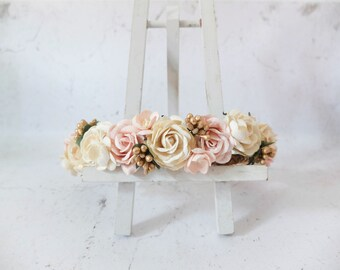 Wedding flower crown - ivory blush gold floral hair wreath- flower girls bridesmaids hair accessories