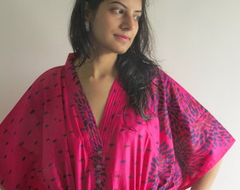 Magenta Abstract Florals Nursing Maternity Hosptial Gown Delivery Kaftan Grt as loungewear getting ready beachwear gift for moms to be moms