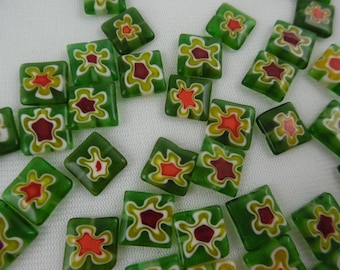 Beads, Green Millefiori, Square, Flat Beads, Red, Maroon, Cream, Green Floral, 12 mm, Pkg 37 Loose Beads for Jewelry Making
