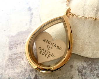 Valentine's gift, Couple Name Necklace, Personalized locket necklace, heart locket necklace, floating locket necklace, Shaker Necklace