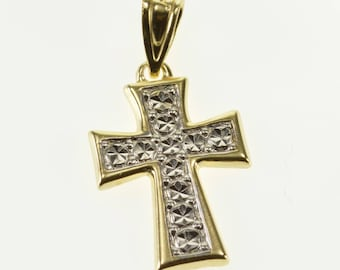 14k Two Tone Textured Curved Cross Christian Symbol Pendant Gold