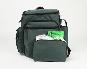 Ocean Green Cordura Diaper Bag,  Backpack Diaper Bag ,Stroller Bag  - Tinky the Diaper Bag for dads and moms