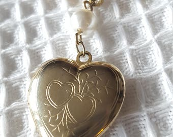 Sweet 1980s Gold Tone Heart Locket with Pearl Pin
