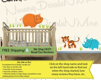 Jungle Theme Wall Decals, Wall Decals, Rhino Wall Stickers, Rhino Decals (SG Extra Animal Jungle Teal) SGEA