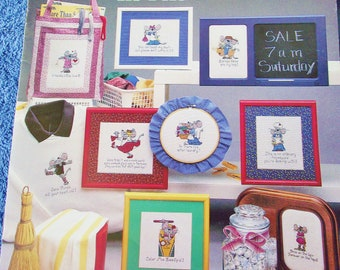 Cross Stitch Pattern - MOUSE In The HOUSE- 9 Minature Sayings - Leisure Arts Leaflet 415