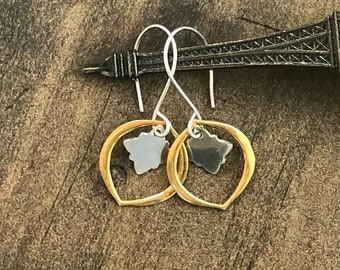 Mixed Metal Earrings, Star Burst Earrings, Everyday Earrings, Gold Earrings, Sterling Silver earrings, Vermeil earrings