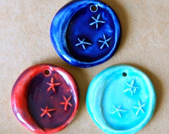 3 Handmade Ceramic Pendant Beads - Moon Beads - Perfect for Winter Solstice or Christmas gifts - Ceramic Charms in Winter Colors