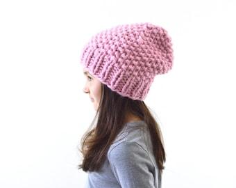 Girls Knit Chunky Slouchy Hat Beanie Toque, Kids Beanie, Children Knit Hat | The Little Samara
