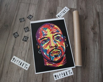 Nate Dogg ,music poster, portrait,  A3 rap poster on matte paper 250gsm. Original print by BARTakaBA.  Unigue gift for fans real hip hop.