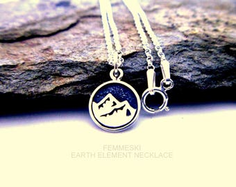 Earth Element Necklace - 925 Sterling Silver - Earth, Fire, Air, Water Charm Necklace - Elemental Jewelry - Four Elements Pendant