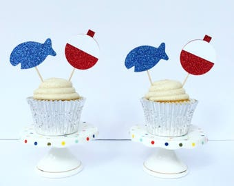 Fishing Bobber Cupcake Toppers / First Birthday / Fishing Theme Birthday / The Big One / Set of 12