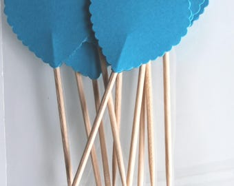 Valentine's day: 10 decorations for Cupcakes (cupcake toppers) hearts turquoise